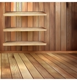 Room with the shelfs and wooden floor eps 10 vector