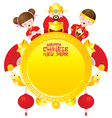Chinese new year frame with chinese god and kids vector