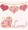 Valentine card with handmade textile hearts vector