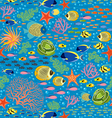 Underwater fishes seamless pattern vector