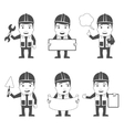 Builder characters set black vector
