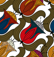 Seamless flower background in egyptian style vector