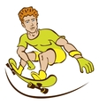 Happy cartoon skateboard boy wearing vector