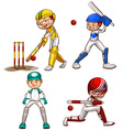 Simple sketches of men playing cricket vector