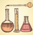 Sketch scientific equpment in vintage style vector