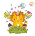 Happy birthday greeting background with a lion vector