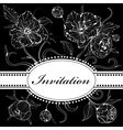 Black and white invitation with peony flowers vector