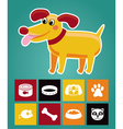 Funny cartoon dog and icons vector