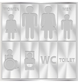 Aluminium toilet sign men and women wc plate vector