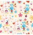 Cute bunnies in love seamless pattern vector