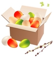 Box full of easter eggs vector