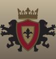 Twin lion heraldic design vector