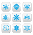 Snowflakes winter blue buttons set vector