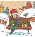 Winter with girl and gift on a park vector