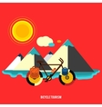 Bicycle near the mountain bicycle tourism vector