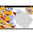 Cartoon jet jigsaw puzzle game vector