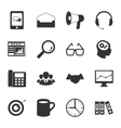 Marketing black and white flat icons set vector