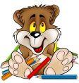 Sweet bear and crayons vector