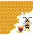 A cute cartoon bee with a honey pot vector