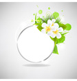 Eco glass speech bubble with flowers vector