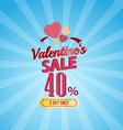 Valentines day sale 40 percent typographic vector