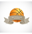 Basketball with brown ribbon vector