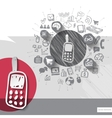 Paper and hand drawn phone emblem with icons vector