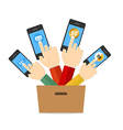Hand hold touch screen on mobile phone vector