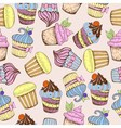Seamless pattern decorative sweet cakes vector
