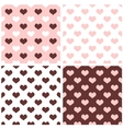 Tile hearts pink white brown background set vector