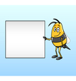 Bee holding a blank board vector