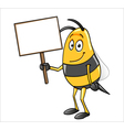 Bee holding a blank sign vector