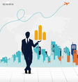 Businessman showing money with building background vector