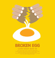 Broken egg in hand vector