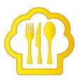 Gold cook hat with kitchen utensil vector