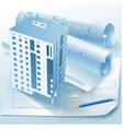Architectural background with a building model vector