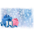 Christmas background with gift boxes and ribbons vector