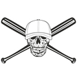 Skull and crossed bat vector