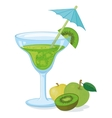 Glass with green drink and fruits vector