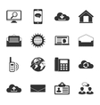 Communication black and white flat icons set vector