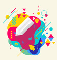 Pencil on abstract colorful spotted background vector