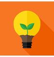 Growing plant inside idea lamp vector
