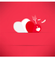 Red valentines day background with heart an arrow vector