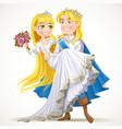 Wedding of prince charming and fairytale princess vector