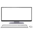 Modern desktop computer with blank screen vector