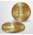 Gold coins with rouble currency sign vector