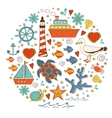 Cute colorful sea collection with various elements vector