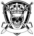 Skull in crown board and crossed swords vector