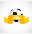 Soccer ball with orange ribbon vector