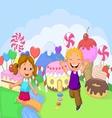 Happy children cartoon in the fantasy sweet land vector